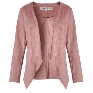 Pink Suede Open Front Jacket